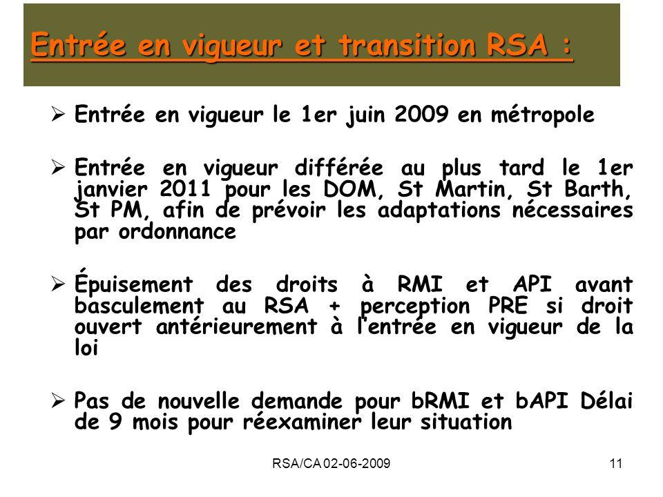 Entrée en vigueur et transition RSA :