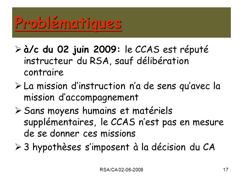 Problématiques à/c du 02 juin 2009: le CCAS est réputé instructeur du RSA, sauf délibération contraire.