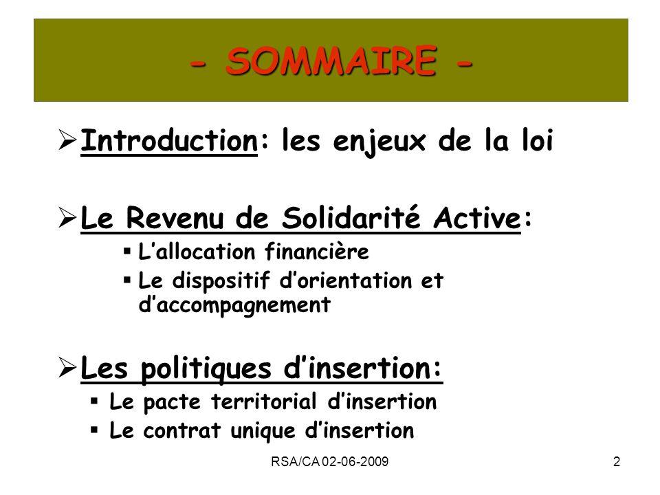 - SOMMAIRE - Introduction: les enjeux de la loi