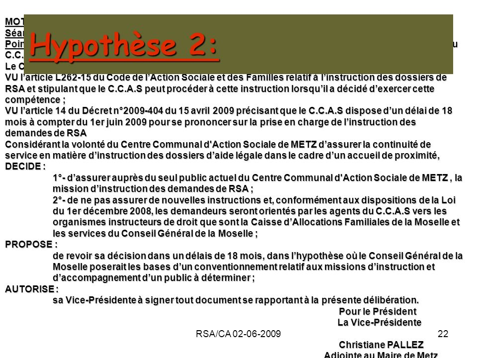 Hypothèse 2: MOTION Séance du 2 juin 2009