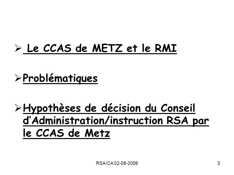 Le CCAS de METZ et le RMI Problématiques