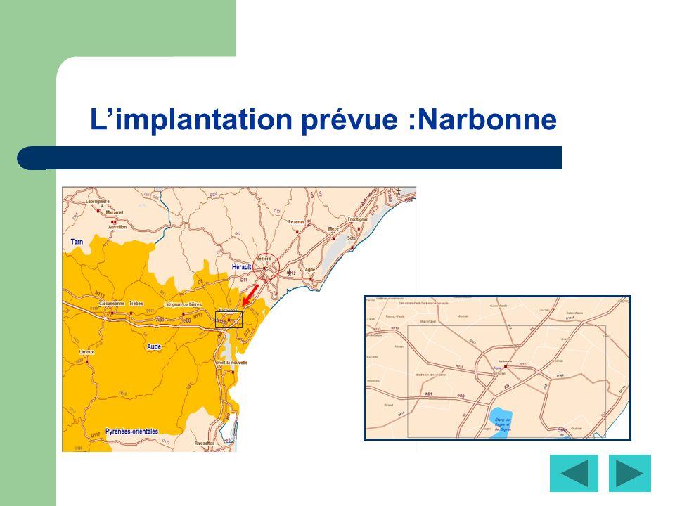 L'implantation prévue :Narbonne