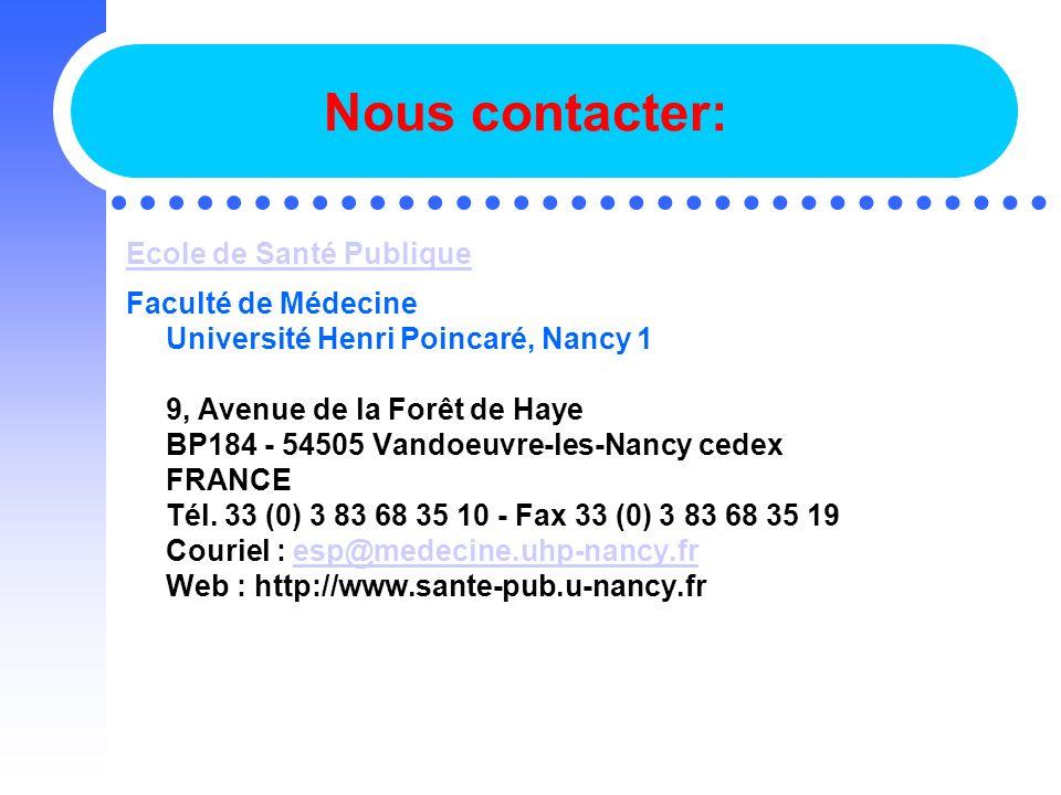 Nous contacter: Ecole de Santé Publique
