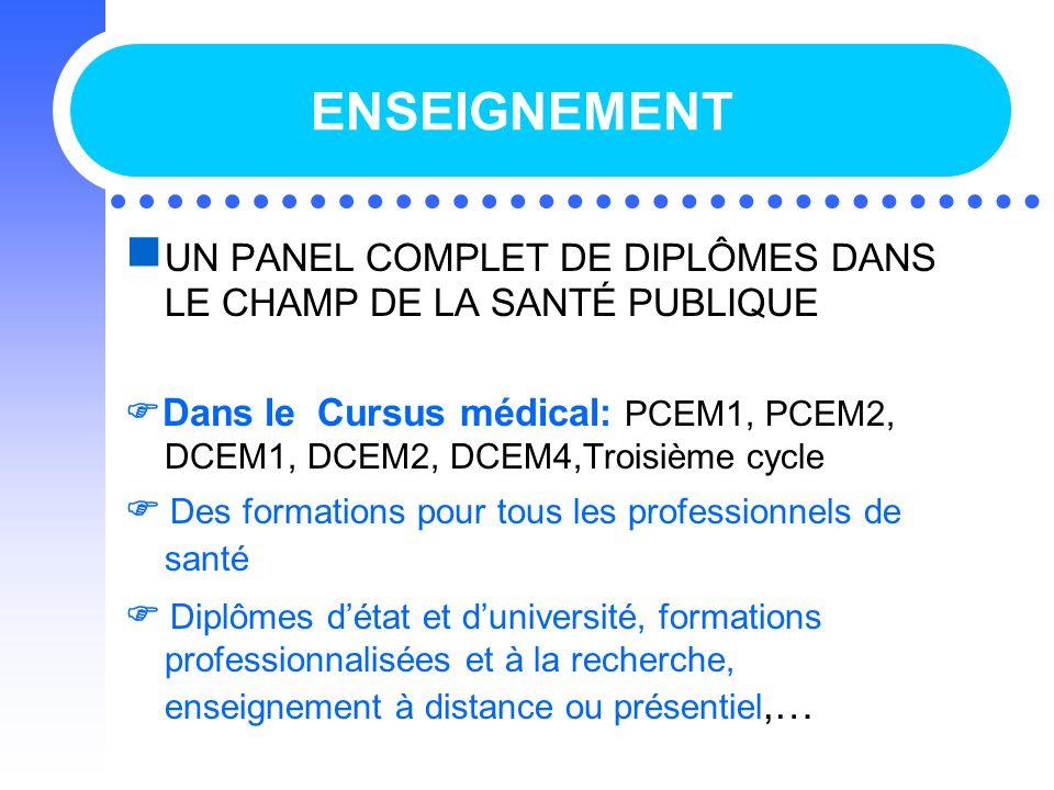 ENSEIGNEMENT UN PANEL COMPLET DE DIPLÔMES DANS LE CHAMP DE LA SANTÉ PUBLIQUE.