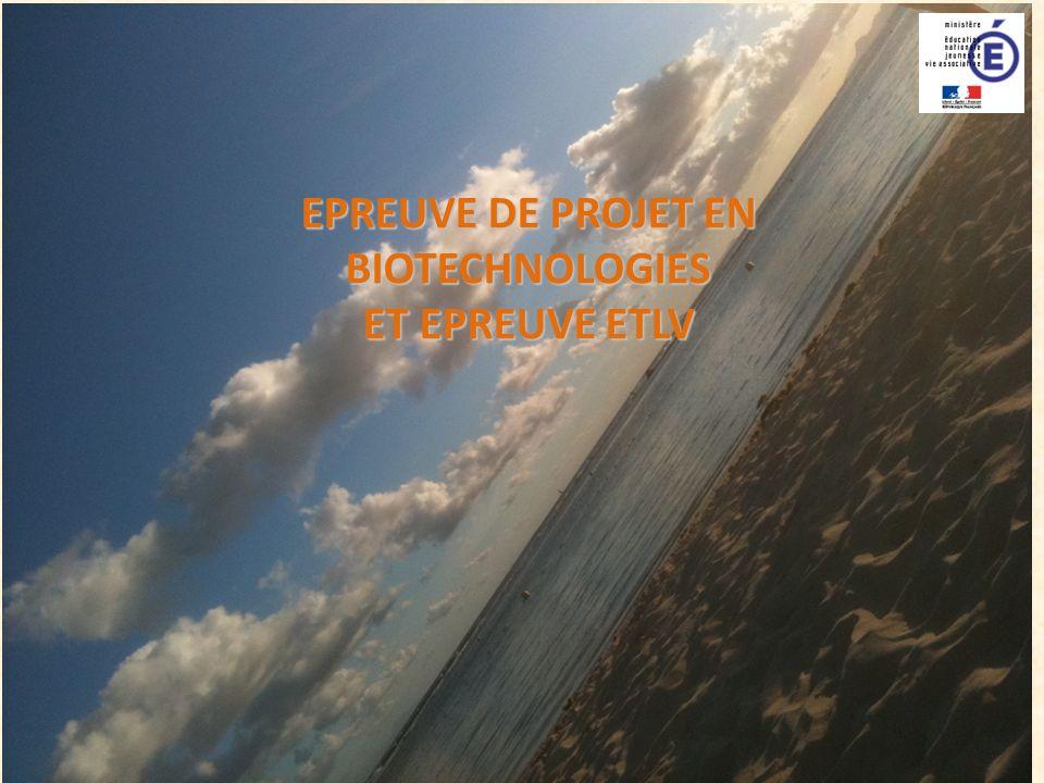 EPREUVE DE PROJET EN BIOTECHNOLOGIES