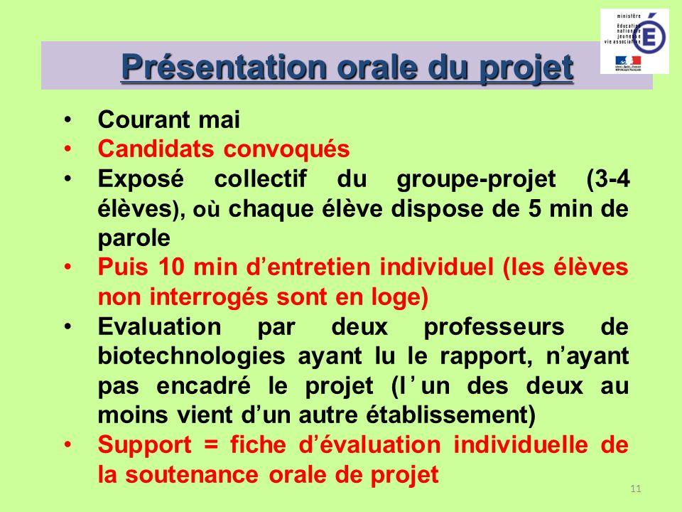 Présentation orale du projet