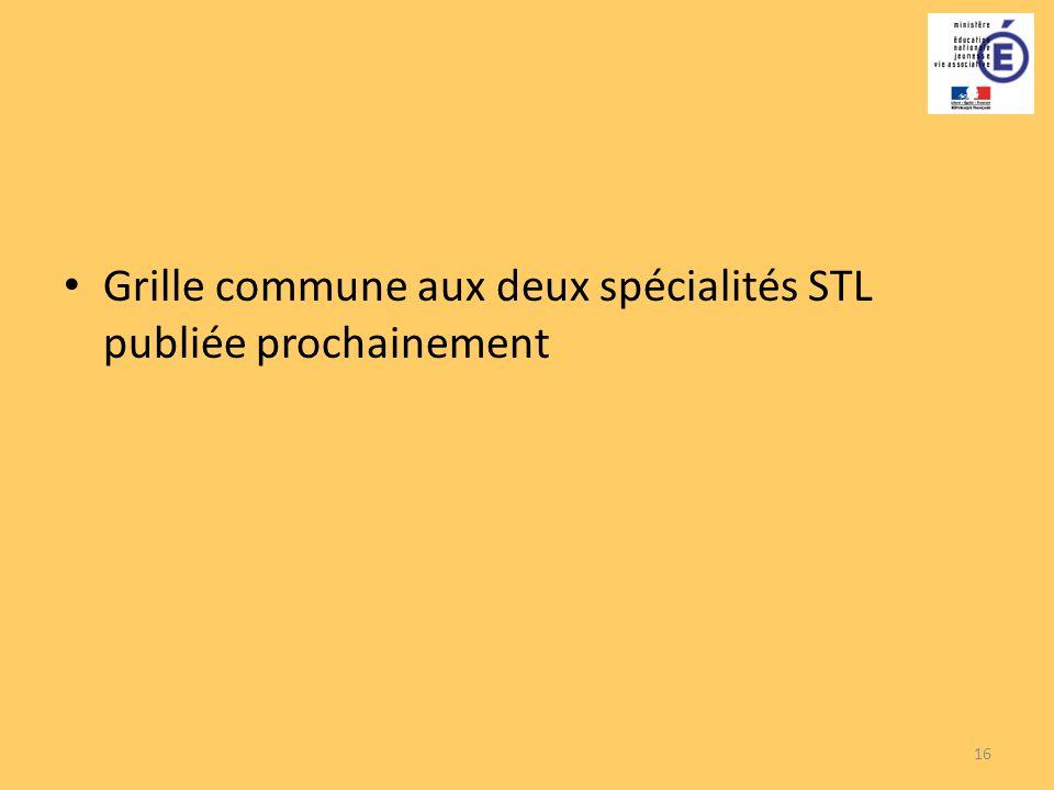 Grille commune aux deux spécialités STL publiée prochainement