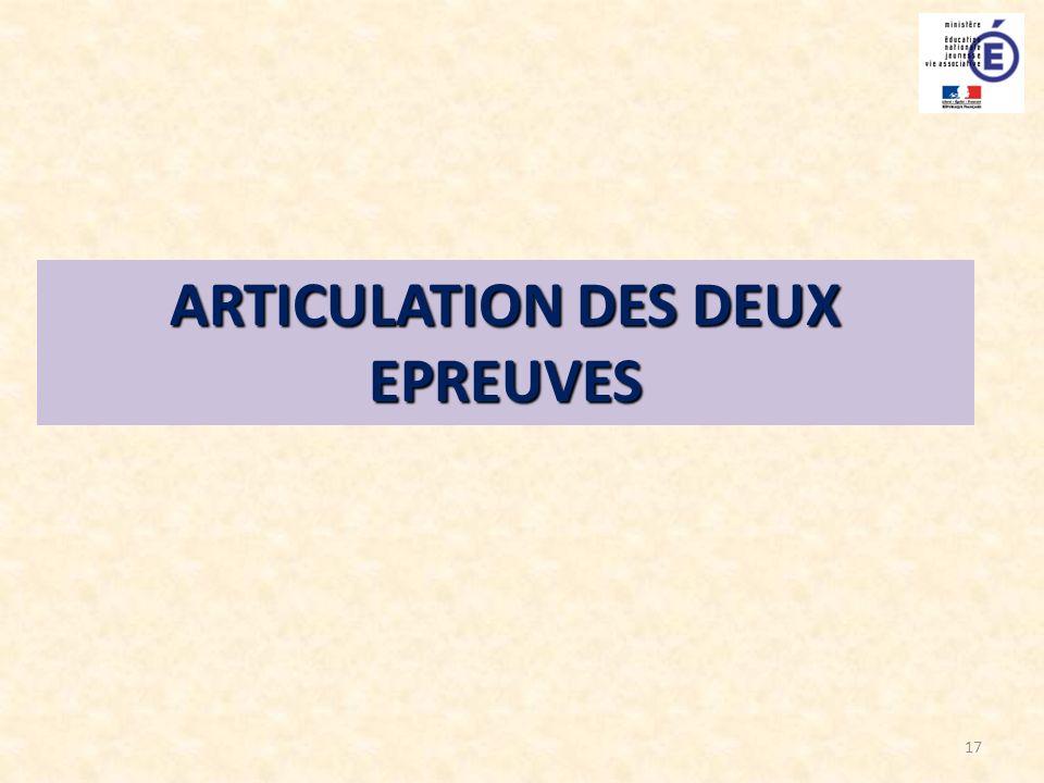 ARTICULATION DES DEUX EPREUVES
