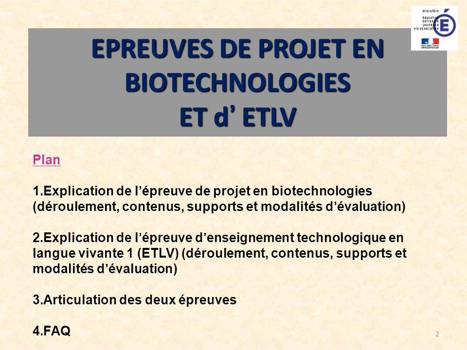 EPREUVES DE PROJET EN BIOTECHNOLOGIES
