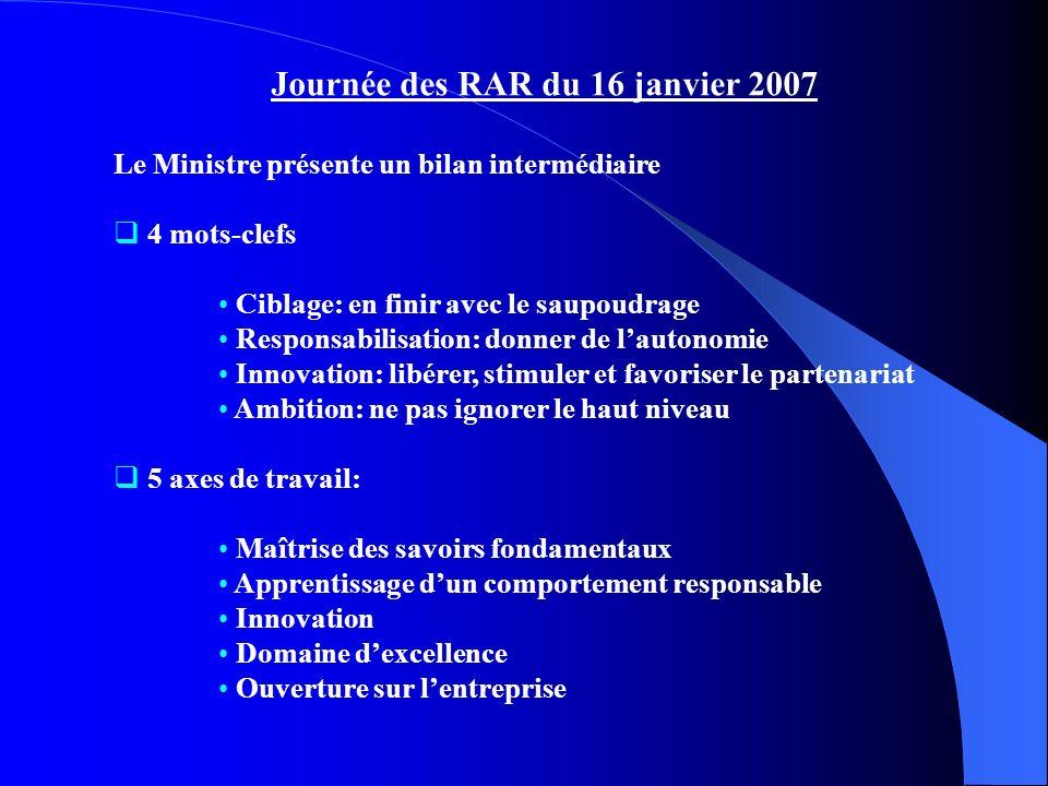 Journée des RAR du 16 janvier 2007