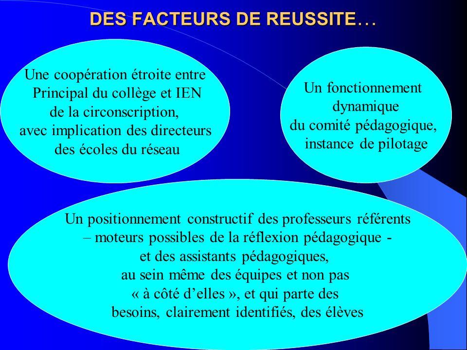 DES FACTEURS DE REUSSITE…