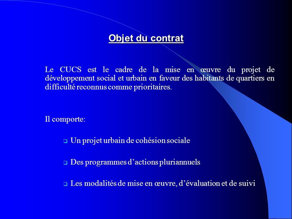 Objet du contrat Il comporte: Un projet urbain de cohésion sociale