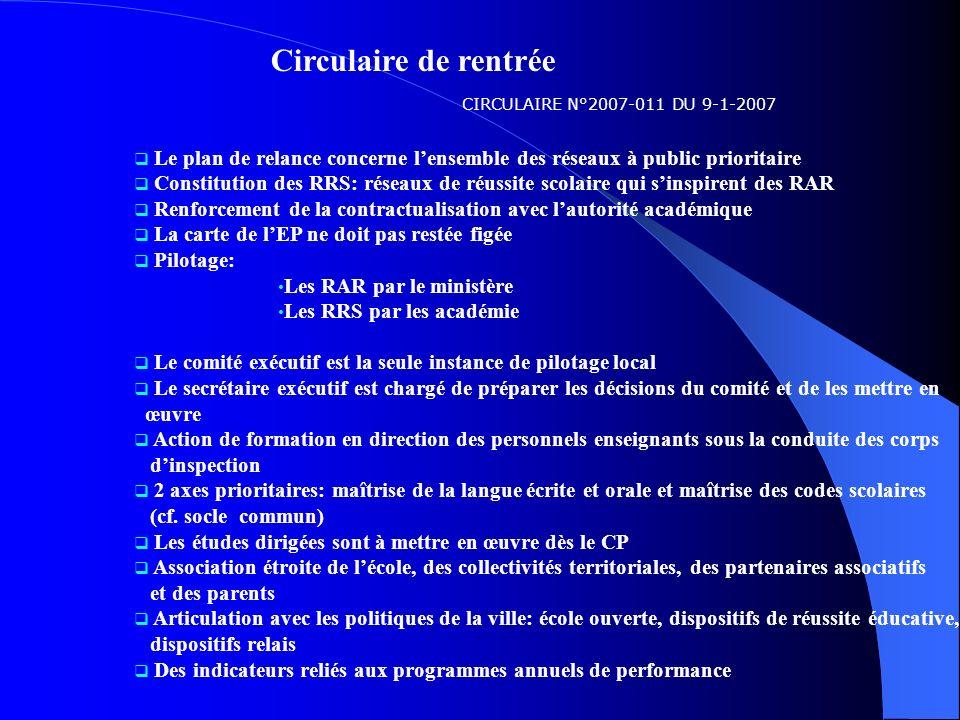 Circulaire de rentrée CIRCULAIRE N°2007-011 DU 9-1-2007. Le plan de relance concerne l'ensemble des réseaux à public prioritaire.