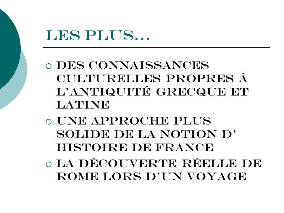 Les plus…Des connaissances culturelles propres à l'ANTIQUITÉ GRECQUE ET LATINE. Une approche plus solide de la notion d' HISTOIRE DE France.
