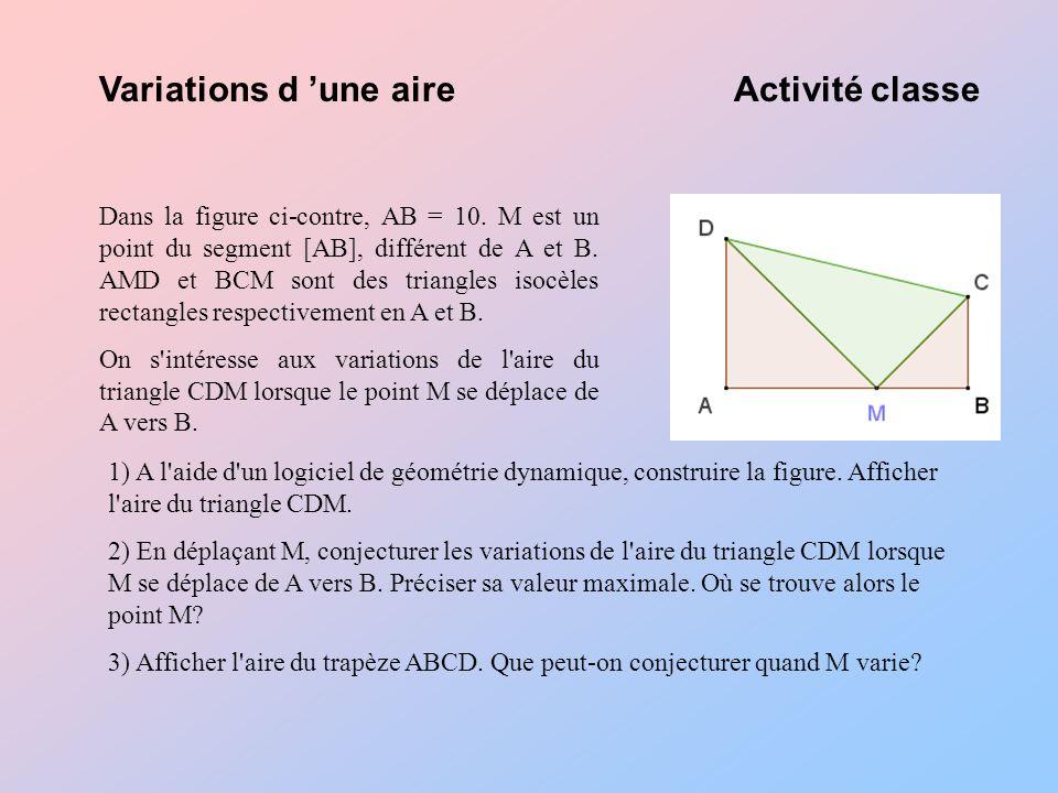 Variations d 'une aire Activité classe