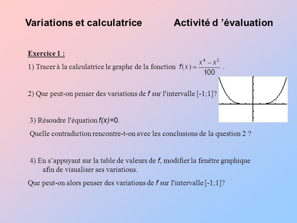 Variations et calculatrice Activité d 'évaluation
