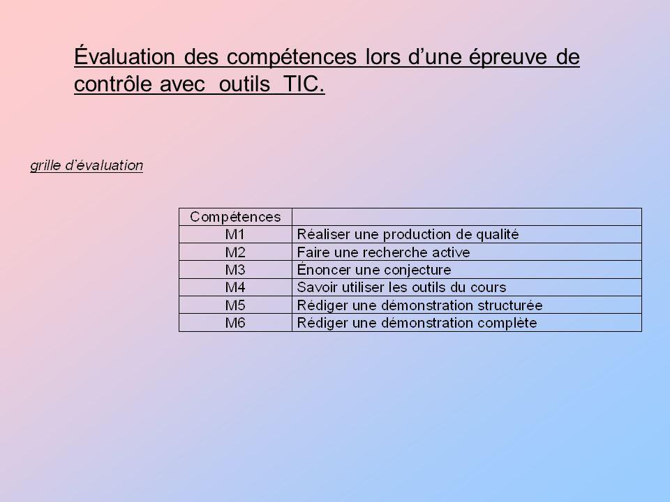 Évaluation des compétences lors d'une épreuve de contrôle avec outils TIC.