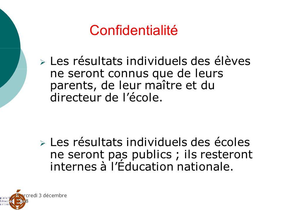 ConfidentialitéLes résultats individuels des élèves ne seront connus que de leurs parents, de leur maître et du directeur de l'école.