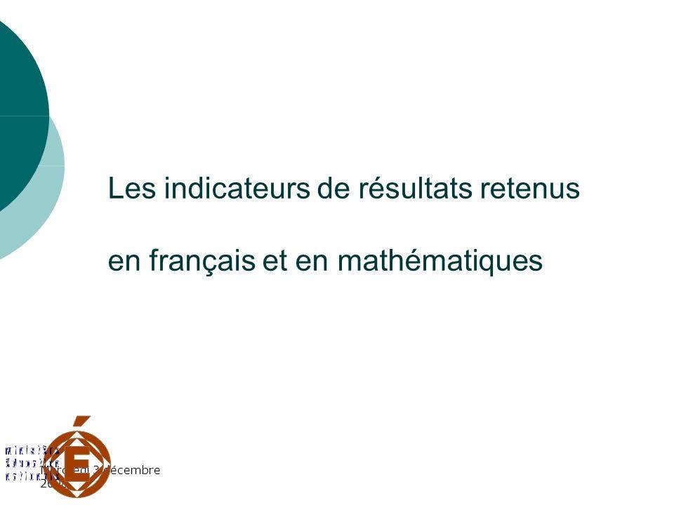 Les indicateurs de résultats retenus en français et en mathématiques