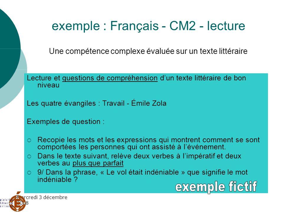 exemple : Français - CM2 - lecture Une compétence complexe évaluée sur un texte littéraire