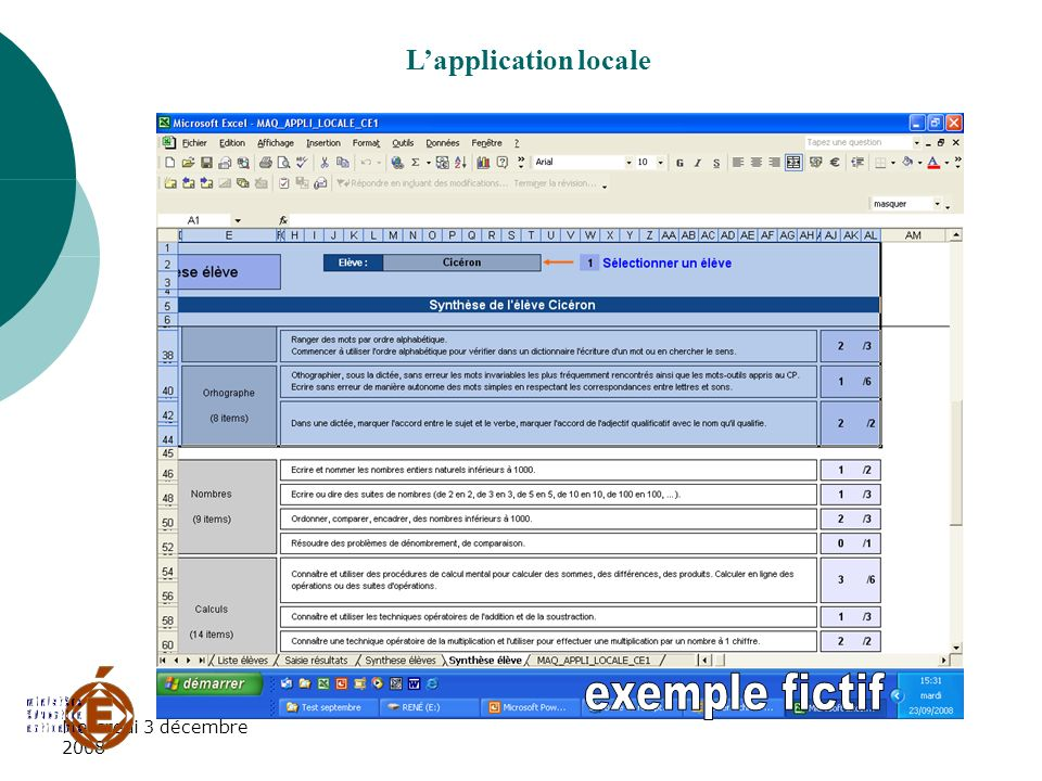 L'application locale exemple fictif Mercredi 3 décembre 2008