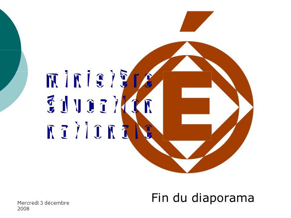 Fin du diaporama Mercredi 3 décembre 2008
