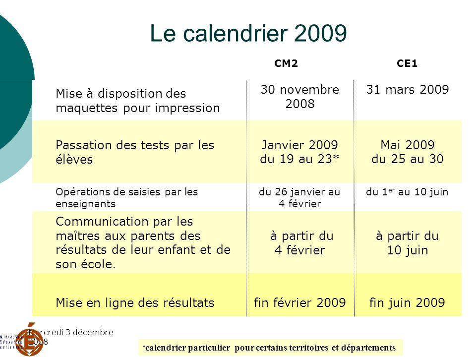 Le calendrier 2009 31 mars 2009 30 novembre 2008
