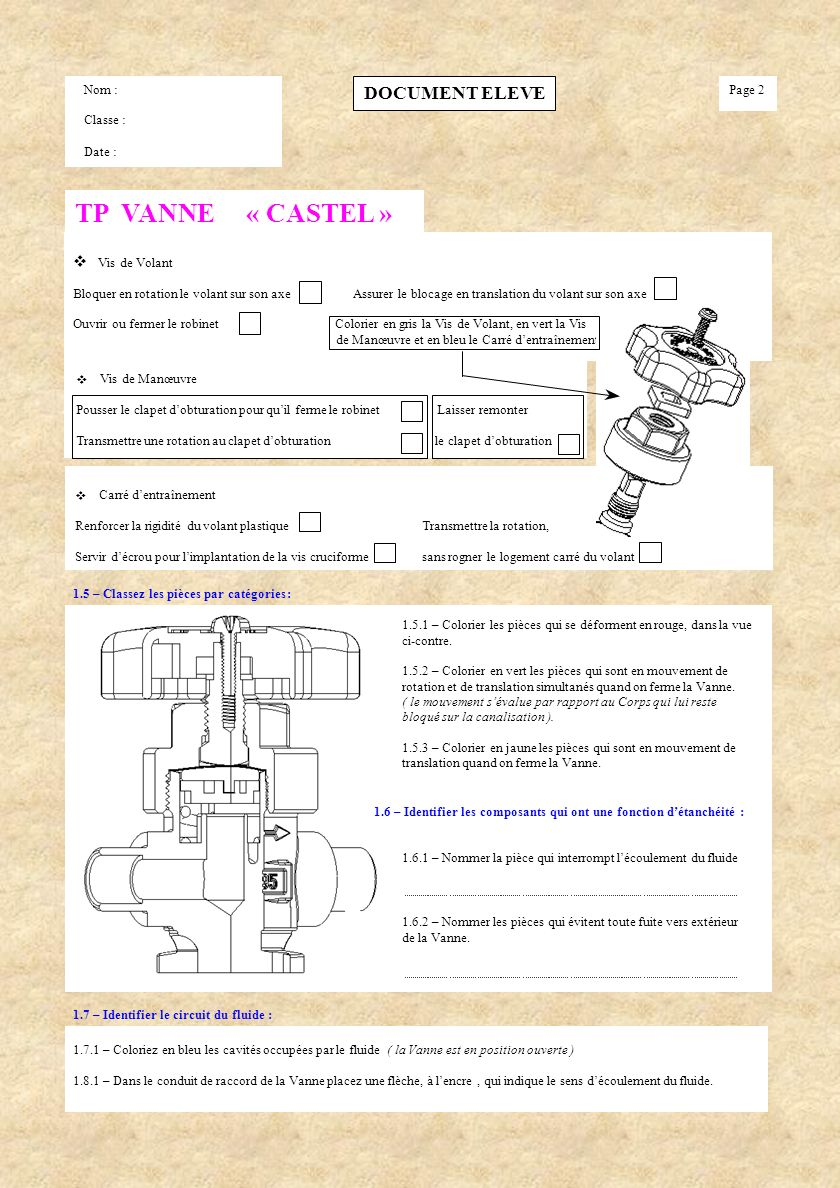 TP VANNE « CASTEL » DOCUMENT ELEVE v l'Obturateur repère 8