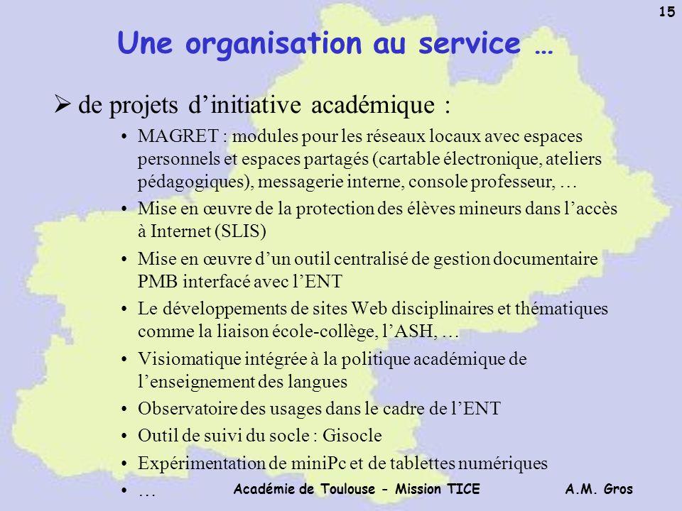 Une organisation au service …