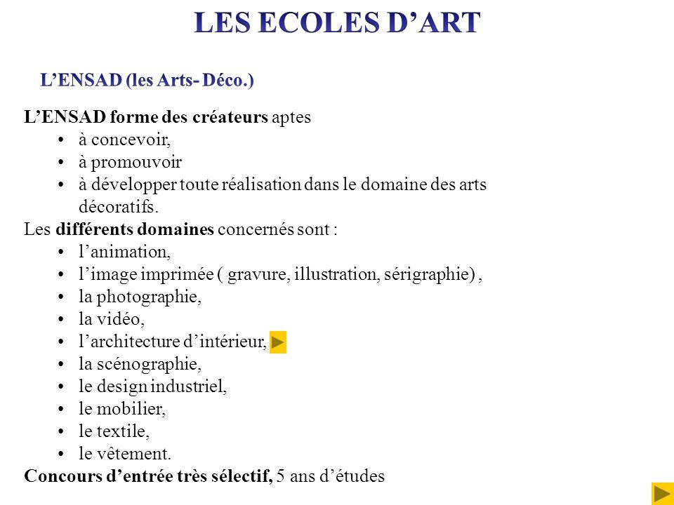 LES ECOLES D'ART L'ENSAD (les Arts- Déco.)