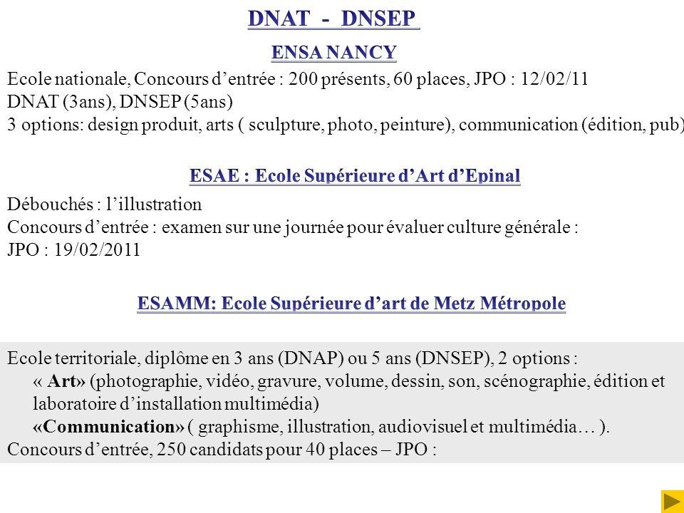 DNAT - DNSEP ENSA NANCY. Ecole nationale, Concours d'entrée : 200 présents, 60 places, JPO : 12/02/11.