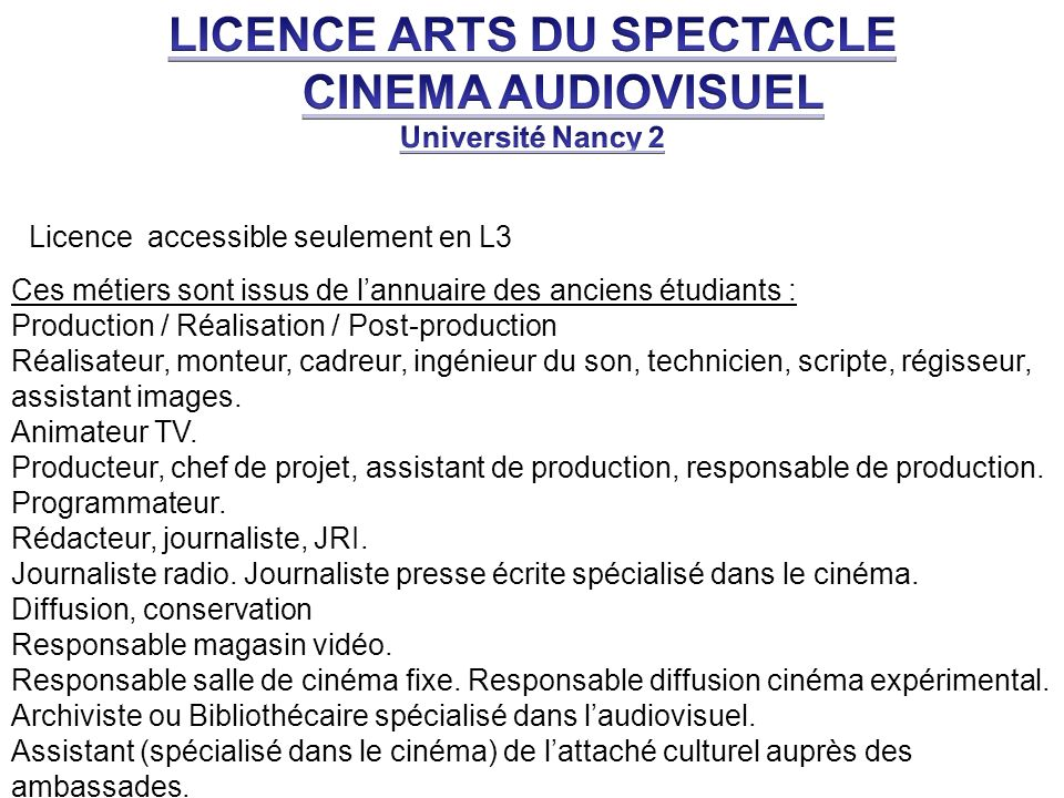 LICENCE ARTS DU SPECTACLE