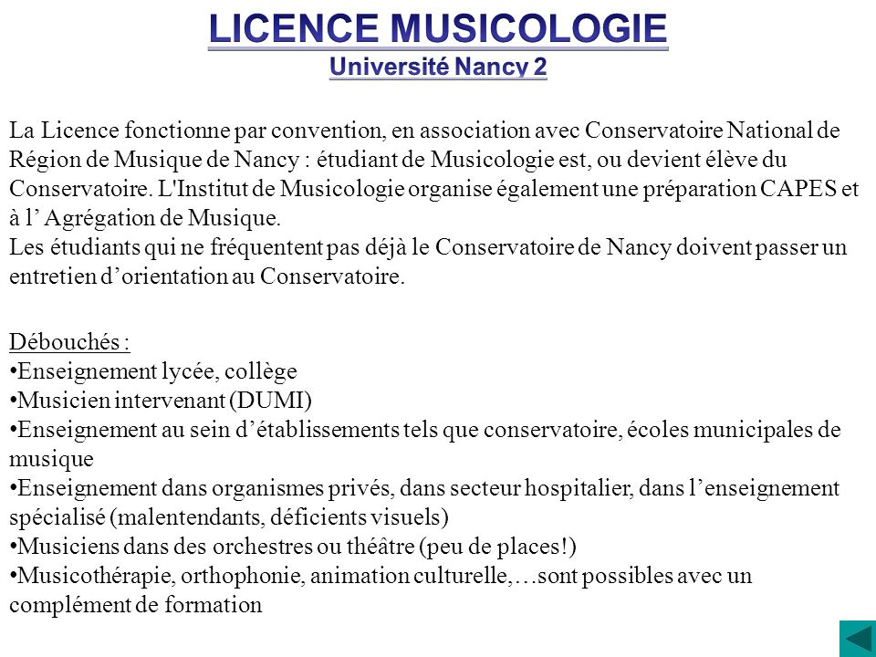 LICENCE MUSICOLOGIE Université Nancy 2
