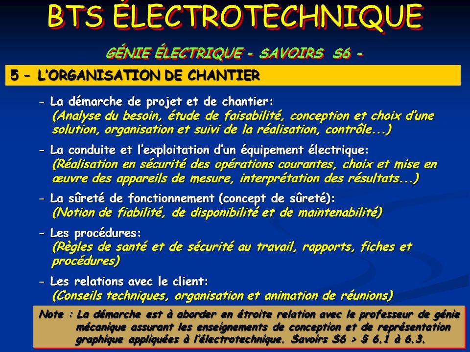 GÉNIE ÉLECTRIQUE - SAVOIRS S6 -