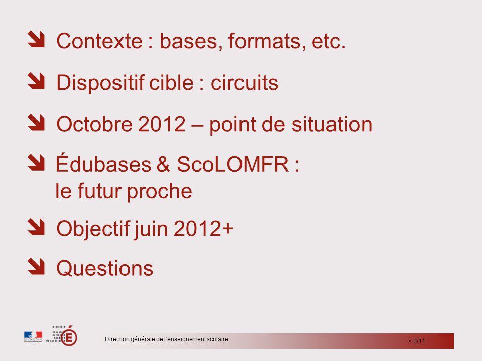       Contexte : bases, formats, etc.