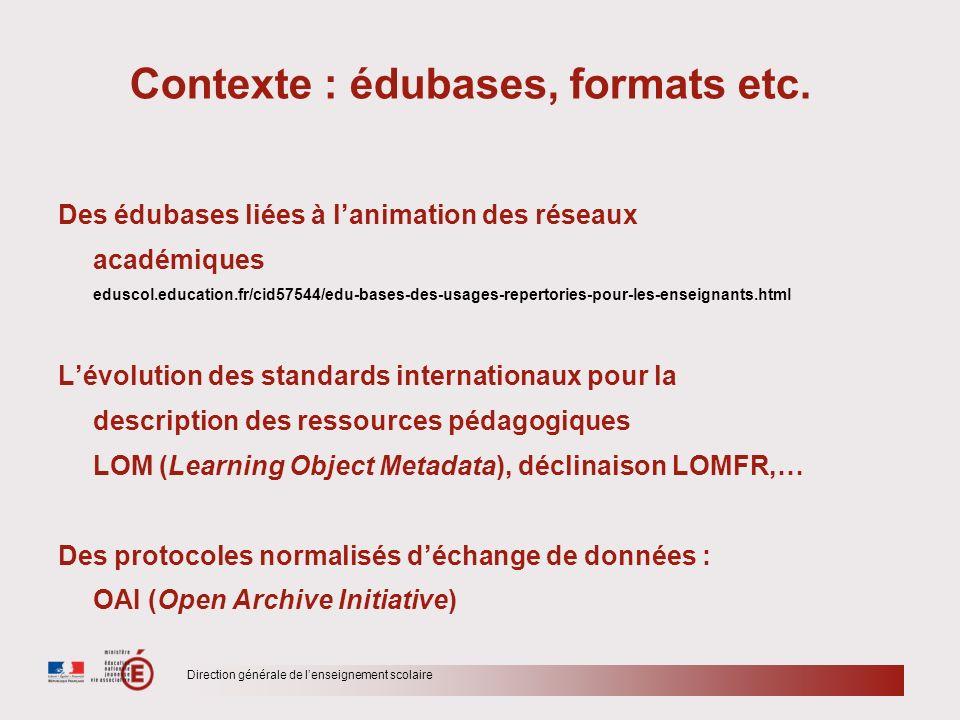 Contexte : édubases, formats etc.