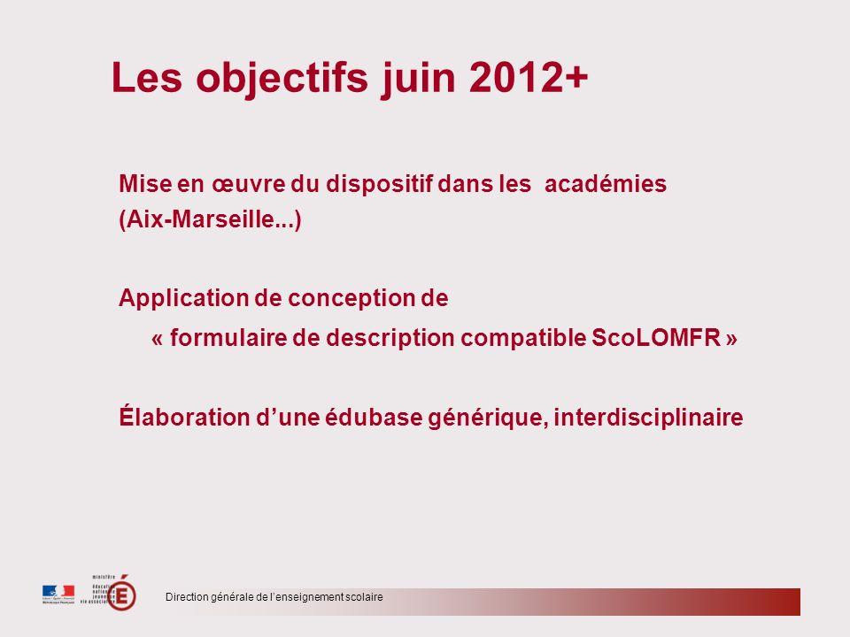 Les objectifs juin 2012+ Mise en œuvre du dispositif dans les académies. (Aix-Marseille...)