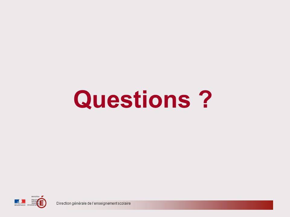 Questions Direction générale de l'enseignement scolaire