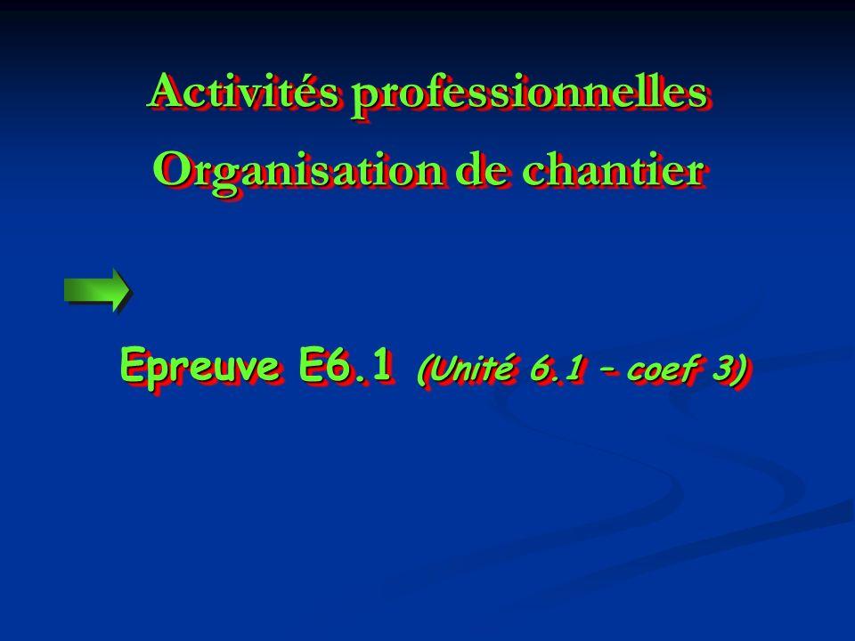 Activités professionnelles Organisation de chantier