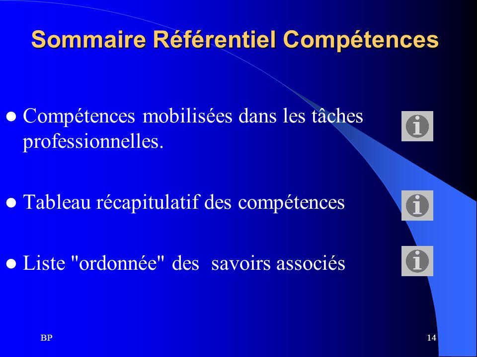 Sommaire Référentiel Compétences