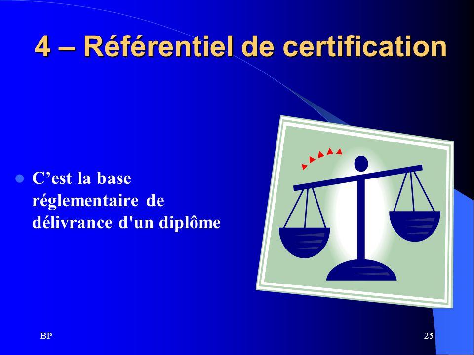 4 – Référentiel de certification