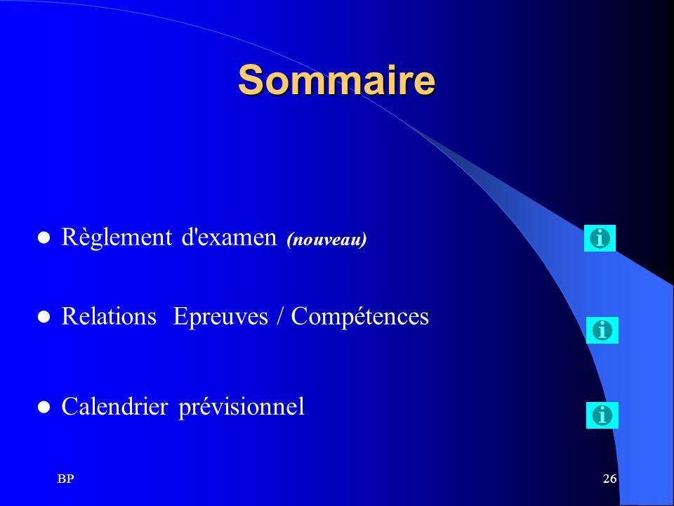 Sommaire Règlement d examen (nouveau) Relations Epreuves / Compétences