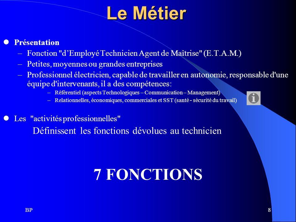 Le Métier 7 FONCTIONS Définissent les fonctions dévolues au technicien