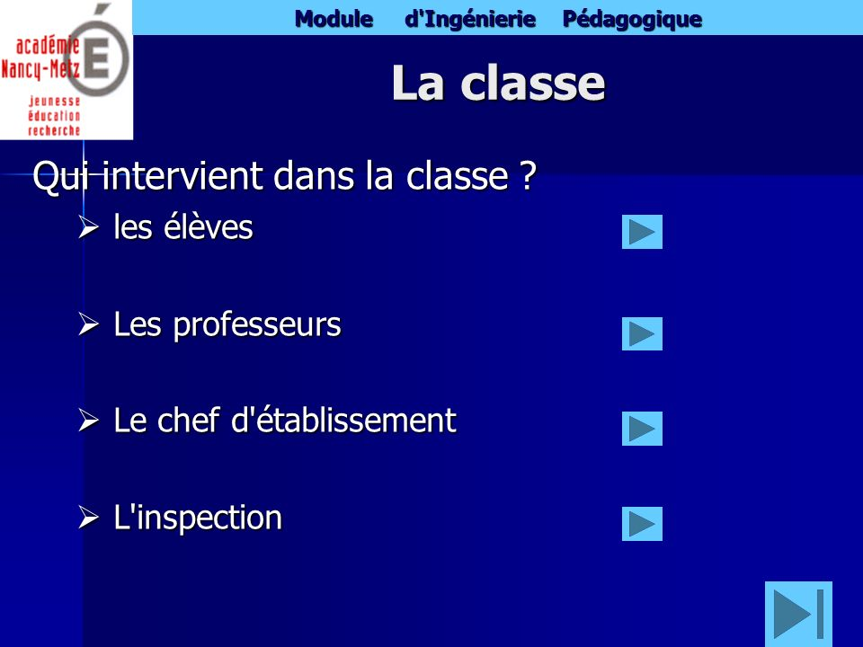 La classe Qui intervient dans la classe les élèves Les professeurs