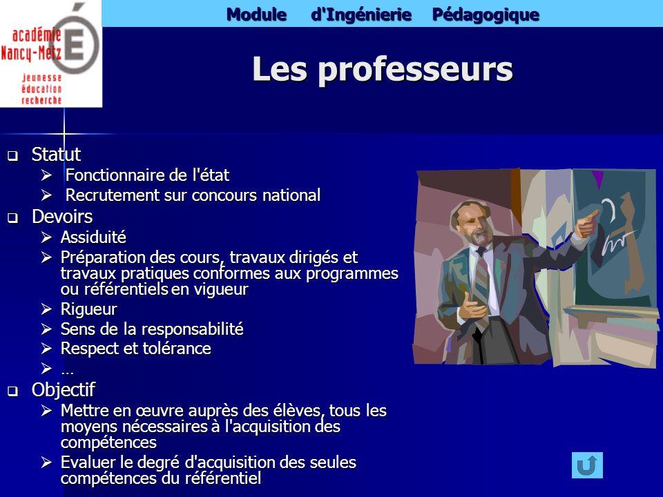 Les professeurs Statut Devoirs Objectif Fonctionnaire de l état