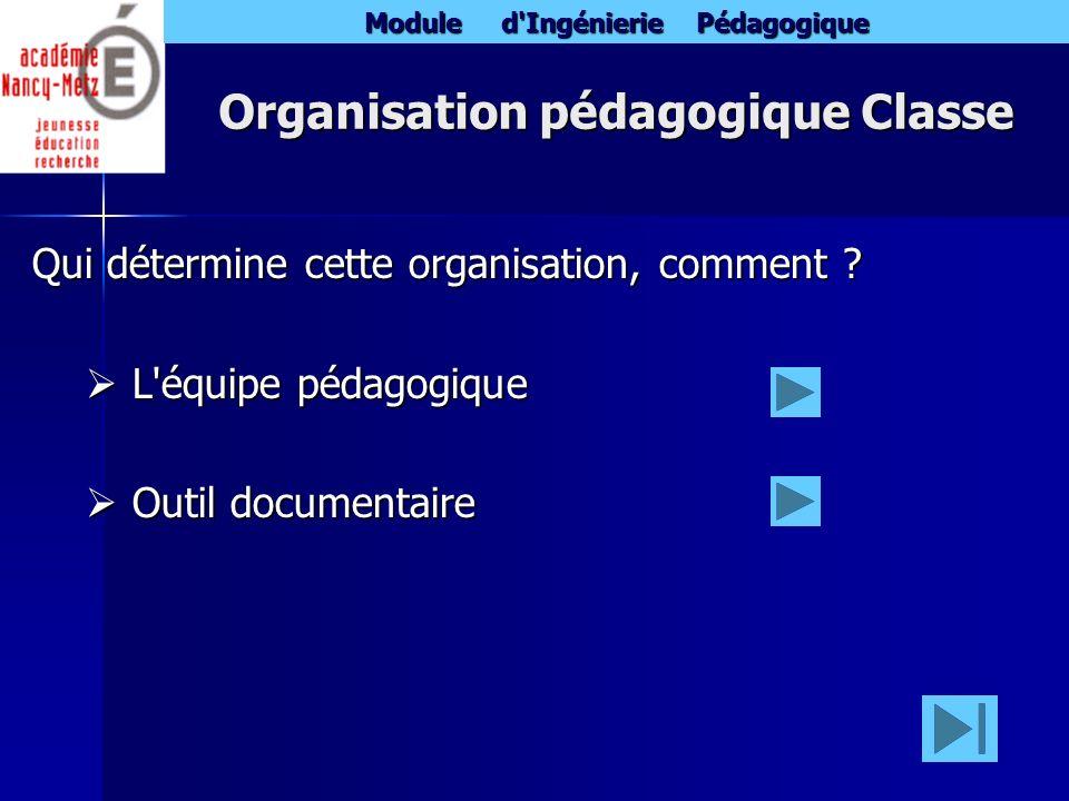 Organisation pédagogique Classe