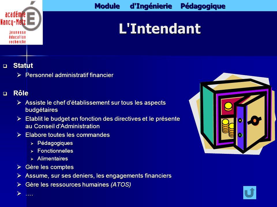 L Intendant Statut Rôle Personnel administratif financier