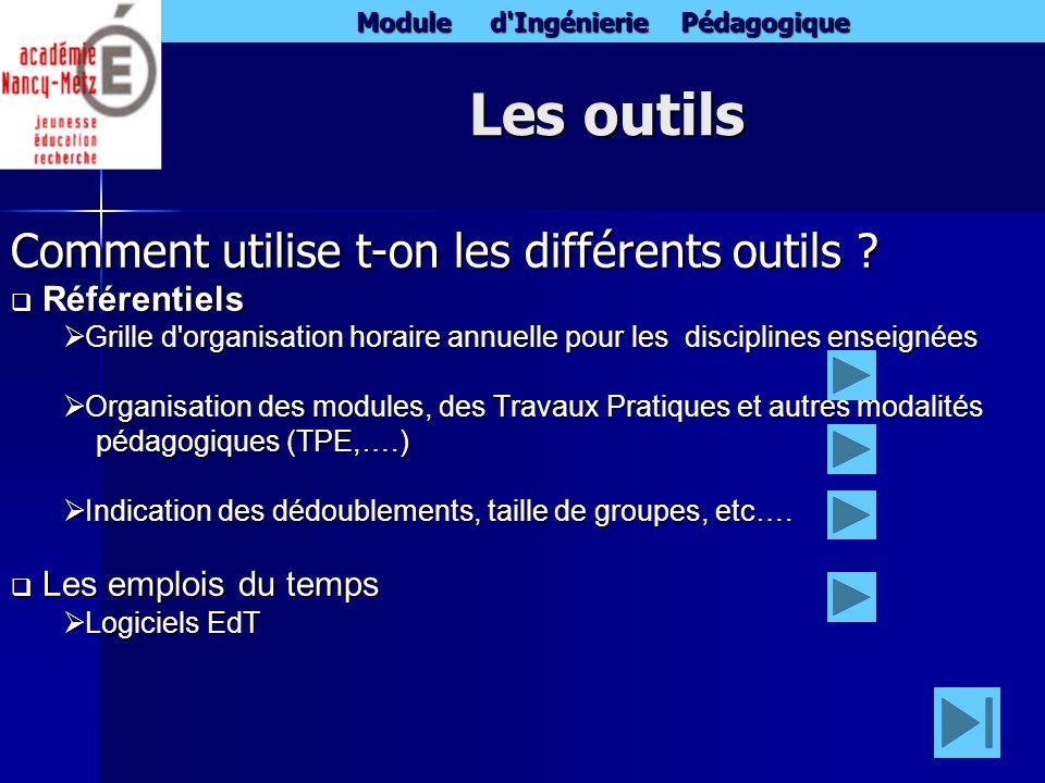 Les outils Comment utilise t-on les différents outils Référentiels