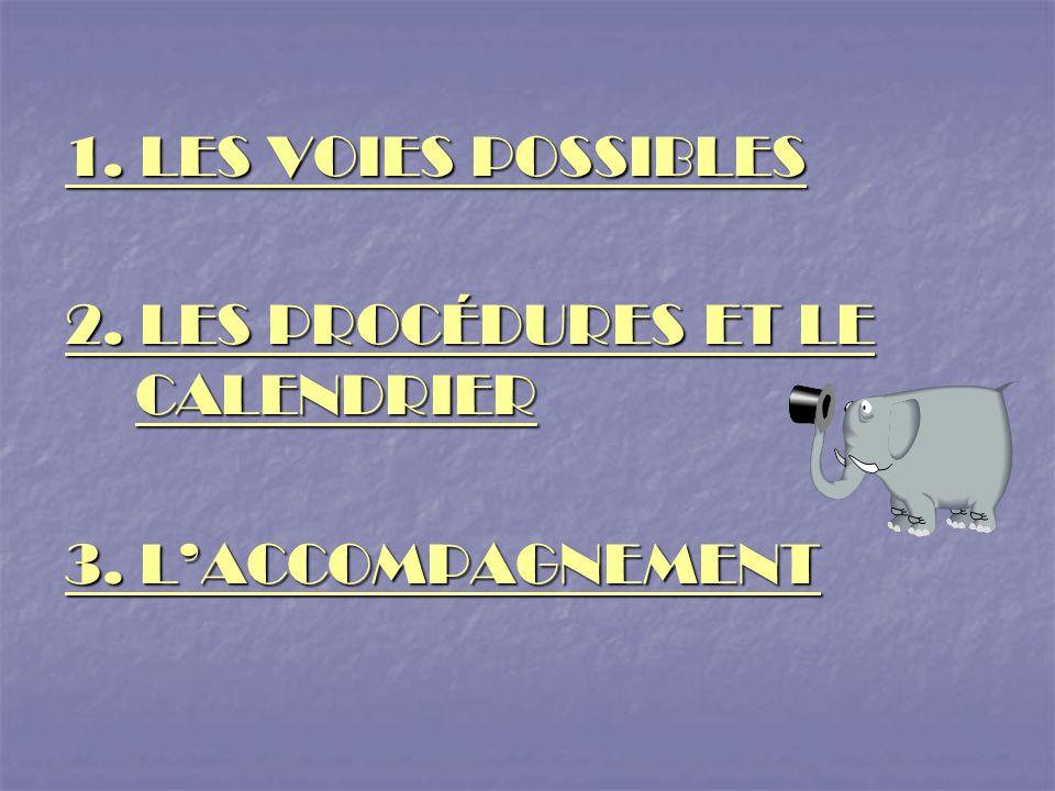 1. LES VOIES POSSIBLES 2. LES PROCÉDURES ET LE CALENDRIER 3. L'ACCOMPAGNEMENT