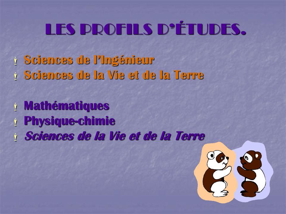 LES PROFILS D'ÉTUDES. Sciences de l'Ingénieur